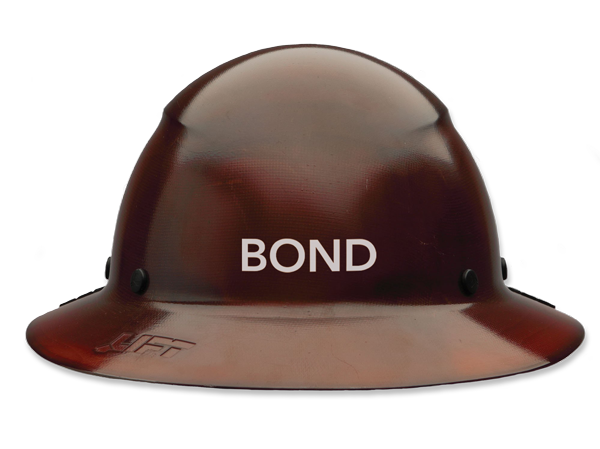 BOND labeled hard hat